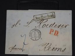 RUSSIE- LETTRE DE ST PETERSBOURG  POUR LA REIMS EN 1860   LETTRE AVEC TEXTE    LOT P3444 - 1857-1916 Empire