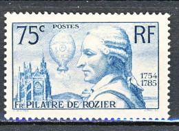 Francia 1936 Francois De Rozier Y&T N. 313 C. 75 Azzurro Verdastro MNH - Ungebraucht