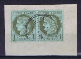 France: 1872 Yv Nr 50 Pair Used On Paper Un Perforated At Right Side - 1871-1875 Cérès