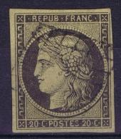 France: 1849 Yv Nr 3 B  Noir Sur Chamois Used Obl - 1849-1850 Ceres