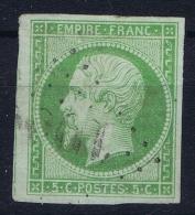 France: 1854 Yv Nr 12   Used Obl   Vert Jaune  Ne Pas Tache Mince/ No Thin Spot  =  Spot De Pétrole - 1853-1860 Napoleon III