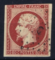 France: 1859 Yv Nr 17 A  Carmin Used Obl - 1853-1860 Napoleon III