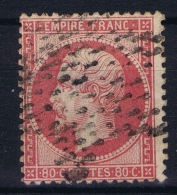 France: 1862 Yv Nr 24 A Rose Foncé  Used Obl - 1862 Napoleone III