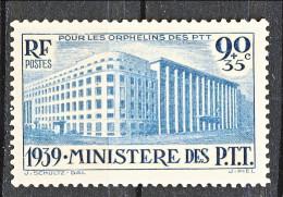 Francia 1939 Orfani PTT Y&T N. 424 C. 90 Su C. 35 Blu-verde MH - Francia