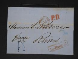 FRANCE  - LETTRE DE ST PETERSBOURG   POUR LA REIMS EN 1860    LETTRE AVEC TEXTE CAD PRUSSE A ERQUELINES    LOT P3449 - Poststempel (Briefe)