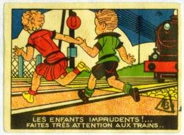 Chromo La Vache Qui Rit Les Enfants Imprudents Faites Tres Attention Aux Trains 2 Scans - Trade Cards