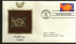 USA 1998 Bright Eyes Gold Fish Marine Life Gold Replicas Cover Sc 3231 # 218 - Marine Life