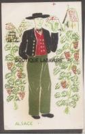 2 CP ALSACE En Tissu--Homme Et Femme-Costumes - Cartes Postales