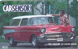 Japan, 110-011-car-296, CAR Sensor Card No.8535, 1957 Chevy Bel Air Station Wagon, 2 Scans. - Japan