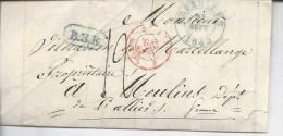 """De Bruxelles Pour Moulins Marque B.3.R Et Entrée Par Valenciennes  """"belgique 3 Val.nes 3"""" Sept 1842 - Storia Postale"""