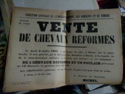 Affiche Vente De Chevaux Reformes 1903 DINAN Bretagne Du 13 E Hussard - Affiches