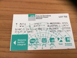 Ticket de m�tro T DIA 1 ZONA, ATM Barcelone (Espagne) (type 2 LOT TS6)