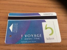 """Ticket de Bus +Tramway BIBUS """"1 VOYAGE"""" 2013 BREST(29)"""