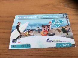 """Ticket de train ter """"LE TIRE BOUCHON - AURAY QUIBERON (56) - ALLER SIMPLE"""" non compost� (utilisable)"""