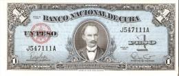 BILLETE DE CUBA DE 1 PESO  DEL A�O 1960 DE JOSE MARTI   (BANKNOTE) SIN CIRCULAR-UNCIRCULATED