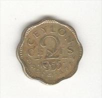 2 Cents Ceylan / Ceylon 1955 - Elizabeth II - Kolonies