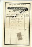 49 - Maine-et-loire - CHOLET - Facture GALAND - Service Des Pompes Funèbres – 1898 - REF 25 - France
