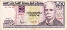 BILLETE DE CUBA DE 50 PESOS DEL A�O 2008 (BANK NOTE)  CALIXTO GARCIA I�IGUEZ