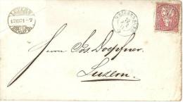 Brief  Weissenburg - Luzern            1871 - 1862-1881 Helvetia Seduta (dentellati)