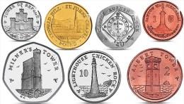 ISLE OF MAN IOM 7 COINS SET 1, 2, 5, 10, 20, 50 PENCE AND 1 POUND 2013 UNC - Monnaies Régionales
