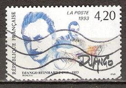 Timbre France Y&T N°2810 (02) Obl. Django Reinhardt. 4 F. 20. Multicolore. Cote 0.80 € - Frankreich
