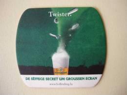"1 Sous-Bocks    BOFFERDING   De Sëffege Secret Um Groussen Ecran   ""  TWISTER  "" - Beer Mats"