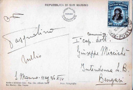 CARTOLINA POSTALE REPUBBLICA SAN MARINO-11-8-1936 SPEDITA A BENGASI-CENT. 10 - Saint-Marin