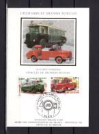 """Carte Maximum En Soie De 2003 N° YT 3613 3618  """" VEHICULE DE PREMIERS SECOURS / AUTOBUS PARISIEN """" En Parfait état. CM - Sapeurs-Pompiers"""