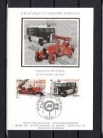 """Carte Maximum En Soie De 2003 N° YT 3611 3616  """"AUTO-POMPE LEGERE  / VEHICULE DE POLICE """" En Parfait état. CM - Sapeurs-Pompiers"""