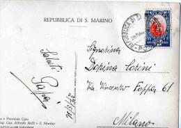 CARTOLINA POSTALE-REPUBBLICA SAN MARINO-IL PALAZZO GOVERNATIVO-27-5-1936-SPEDITA A MILANO - Saint-Marin