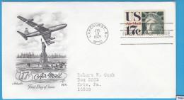 + USA 1971; FDC; Mi: 1044; Air Mail 1968-1973, Statue Of Liberty, Plane - 1971-1980