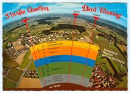 AK Bad Füssing Geologisches Blockbild Bohrungen Heiße Quellen Granit Luftbild Luftaufnahme Bayern Deutschland Germany - Bad Füssing
