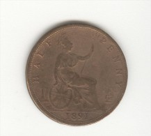 Half  Penny Grande Bretagne / U.K. 1891 Victoria - 1816-1901 : Coniature XIX° S.