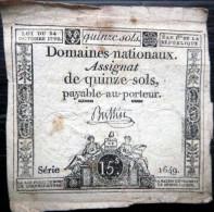 ASSIGNAT DES DOMAINES NATIONAUX   ASSIGNAT DE QUINZE SOLS   AN II (1793)   SERIE 1649  SIGNE BUSSIN - Assignats