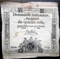 ASSIGNAT DES DOMAINES NATIONAUX   ASSIGNAT DE QUINZE SOLS   AN II (1793)   SERIE 1649  SIGNE BUSSIN - Assignate