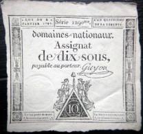 ASSIGNAT DES DOMAINES NATIONAUX   ASSIGNAT DE DIX SOUS   AN IV (1795 )   SERIE 1290  SIGNE GUYON - Assignats & Mandats Territoriaux
