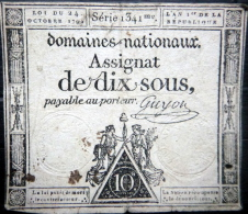 ASSIGNAT DES DOMAINES NATIONAUX   ASSIGNAT DE DIX SOUS   AN I (1792 )   SERIE 1341  SIGNE GUYON - Assignate