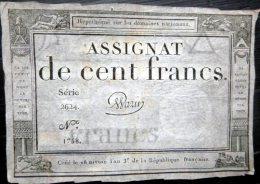 ASSIGNAT DES DOMAINES NATIONAUX   ASSIGNAT DE CENT FRANCS  AN III  (1794 )     SERIE 2624   SIGNE WARIN - Assignate
