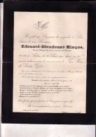 ROSSIGNOL ARLON Edouard-Dieudonné HINQUE Ancien Bourgmestre 1835-1900 Faire-part Mortuaire - Esquela