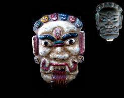 Ancien Masque De Démon LAKHE Du Gai Jatra / Old Lakhe Mask Of The Death Festival - Art Asiatique