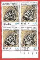 ITALIA REPUBBLICA QUARTINA MNH - 1990 - Arte Musiva Del Parco Della Pace - Ravenna - £ 450 - S. 1939 - 6. 1946-.. Repubblica