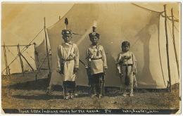Real Photo 3 Little Indians Ready For The Dance F4 Phot Bates Lawton Oklahoma - Indios De América Del Norte