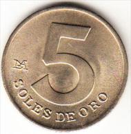 PERÚ 1979   5  SOLES DE ORO.ESCUDO DEL PERÚ   NUEVA SIN CIRCULAR  .CN4280 - Pérou