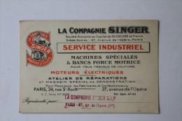 Carte De Visite, La Compagnie Singer. 27, Rue De L'opéra Paris. - Visiting Cards