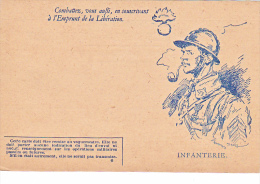 23723 Guerre 1914-18 Combattez Aussi Souscrivant Emprunt Liberation - 6 Infanterie -carte En Franchise