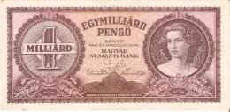 BILLETE DE HUNGRIA DE 1 MILLIARD PENGO DEL AÑO 1946 (BANKNOTE) - Hungría