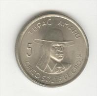 5 Soles De Oro -  Perou / Peru - Tupac Amaru - 1972 - Peru