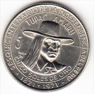 PERÚ 1971   5 SOLES DE ORO. TUPAC AMARU.SESQUICENTENARIO INDEPENDENCIA  CASI  SIN CIRCULAR    .CN4282 - Pérou