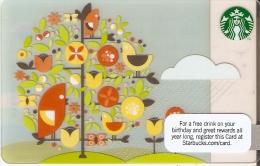 TARJETA DE STARBUCKS ARBOL CON PAJAROS (GIFT CARD-CADEAU) STARBUCKSCARD - Publicidad