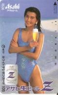 TARJETA DE JAPON DE UNA CHICA SEXI Y CERVEZA ASAHI  (EROTICA-NUDE) BEER - Publicidad